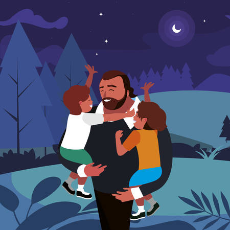 father with sons characters in the field vector illustration design Иллюстрация