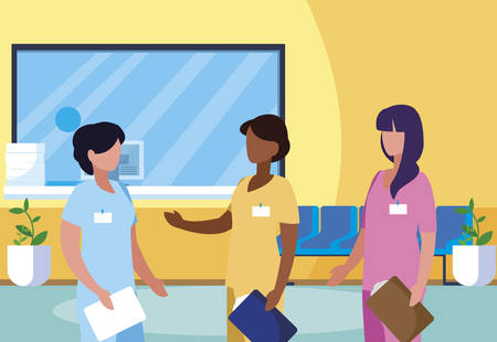 interracial female medicine workers in clinic reception vector illustration design Çizim