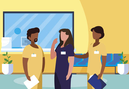 interracial group medicine workers in clinic reception vector illustration design
