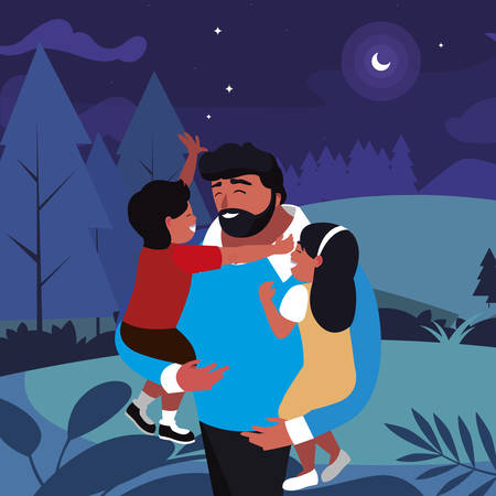 father with son and daughter in the field at night vector illustration design