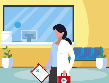 female medicine worker in clinic reception vector illustration design