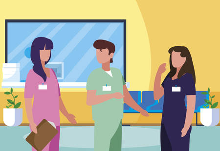 staff medicine workers in clinic reception characters vector illustration design
