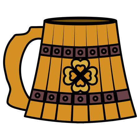 beer wooden jar with clover vector illustration design Illustration