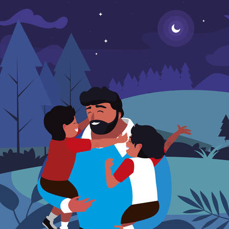 father with sons characters in the field vector illustration design Illustration