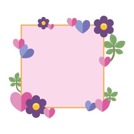flowers badge decoration empty template vector illustration