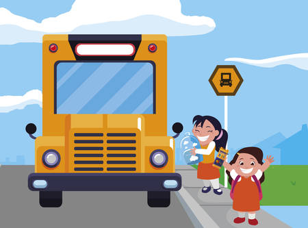 happy little school girls in the bus stop vector illustration design Ilustracja