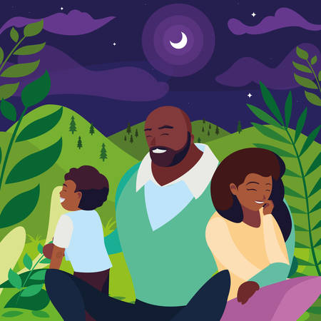 black parents couple with son in the landscape at night vector illustration design