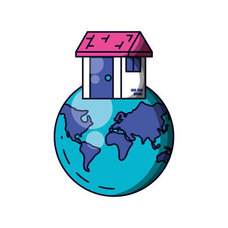 planet earth with house building vector illustration design Ilustrace