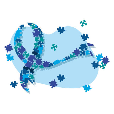 blue puzzles ribbon shaped autism awareness day vector illustration