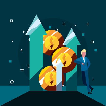 businessman arrows coins stacked economy  vector illustration Ilustração