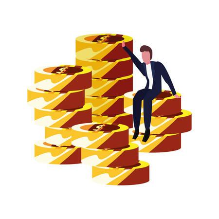 businessman sitting on coins stack fortune vector illustration  イラスト・ベクター素材