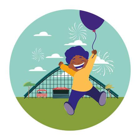 lächelnder Junge, der Ballonpark-Vergnügungsvektorillustration hält
