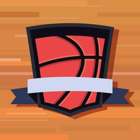 basketball sport ball ribbon badge wooden background vector illustration
