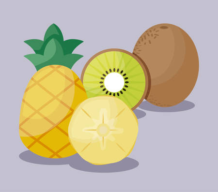 fresh kiwis with pineapples fruits healthy vector illustration design Ilustracja
