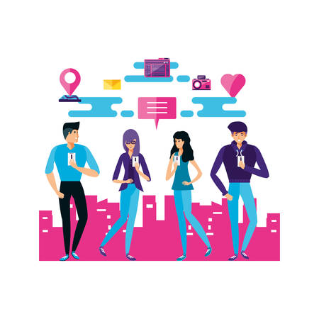 people with social media icons vector illustration design 矢量图像