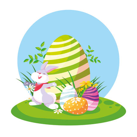 cute rabbit with eggs of easter in garden vector illustration design