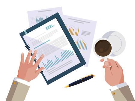 businessman hands working with supplies vector illustration design Stock Illustratie