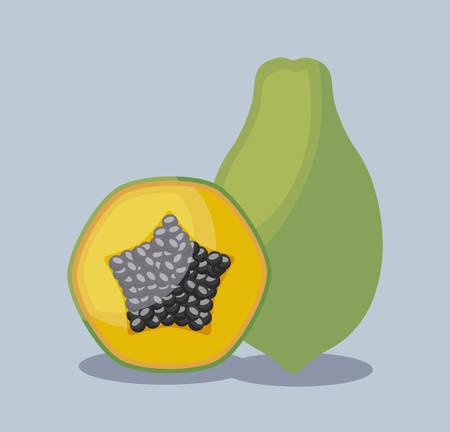 fresh papayas fruits healthy vector illustration design