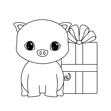 cute piggy animal with gift box vector illustration design Zdjęcie Seryjne - 122814680