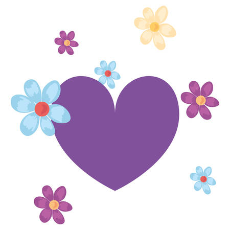 love romantic heart flowers decoration vector illustration Imagens - 122814691