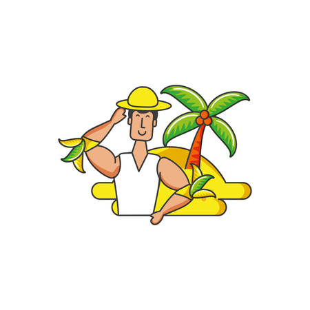 man brazilian dancer with beach vector illustration design Ilustrace