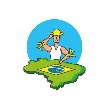 man brazilian dancer with map of brazil vector illustration design Ilustração
