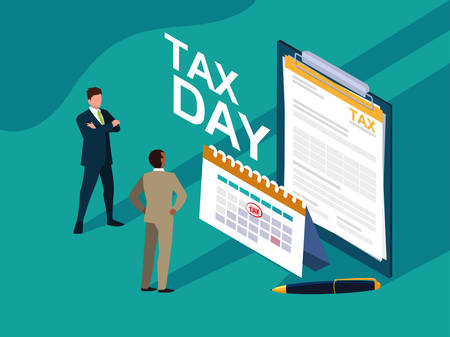 businessmen in tax day with clipboard and calendar vector illustration design