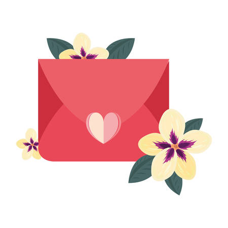 mail message love heart flowers vector illustration