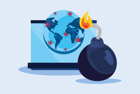 computer world boom cyber security vector illustration