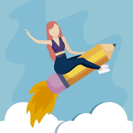 woman flying in rocket launcher with pencil vector illustration design