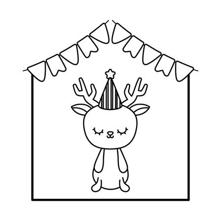 cute reindeer animal with garlands and hat party vector illustration design