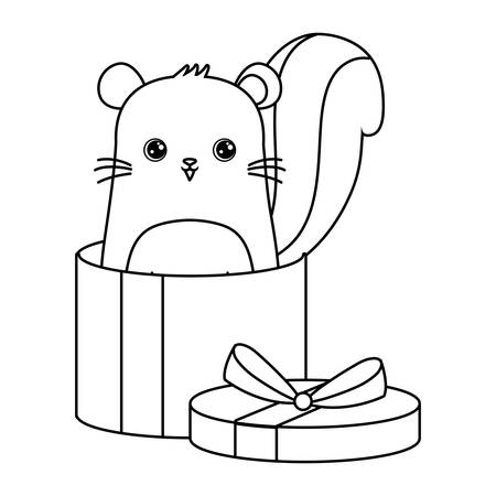 cute chipmunk animal in gift box vector illustration design