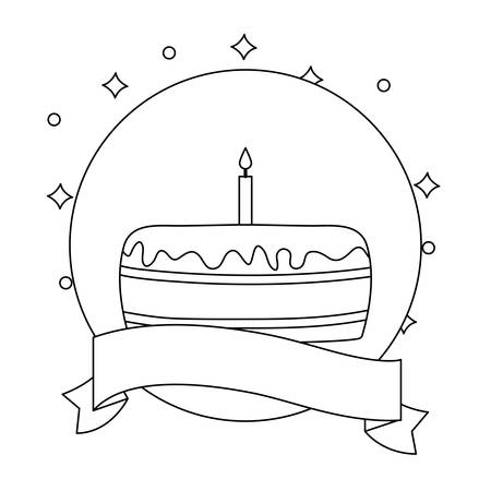 sweet cake of birthday in frame circular with ribbon vector illustration design