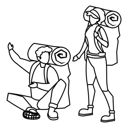 adventurous couple with travelbag vector illustration design Stock fotó - 122816002