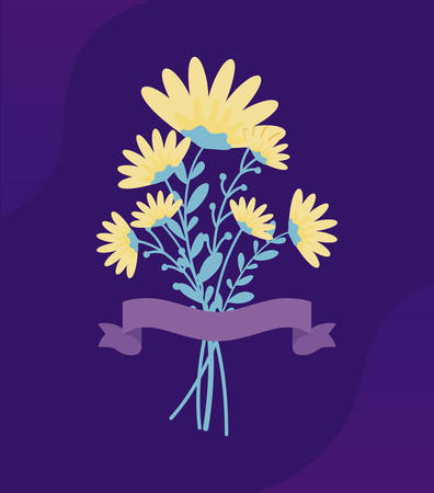 bouquet of flowers with ribbon vector illustration design 向量圖像