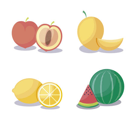 mangoes with set fruits healthy vector illustration design