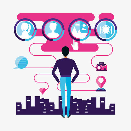 man with social media icons vector illustration design Illustration