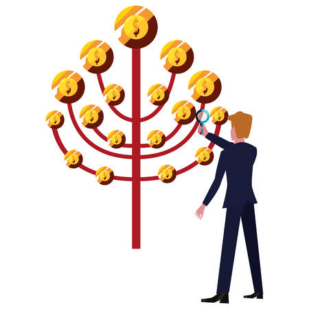 businessman with magnifier tree coins money vector illustration Stock Illustratie