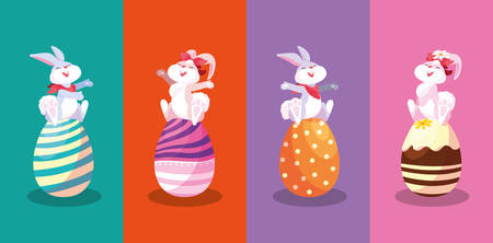 group of rabbits sitting in eggs of easter vector illustration design Фото со стока - 122816129