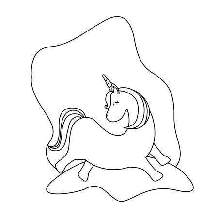 cute unicorn animal isolated icon vector illustration design