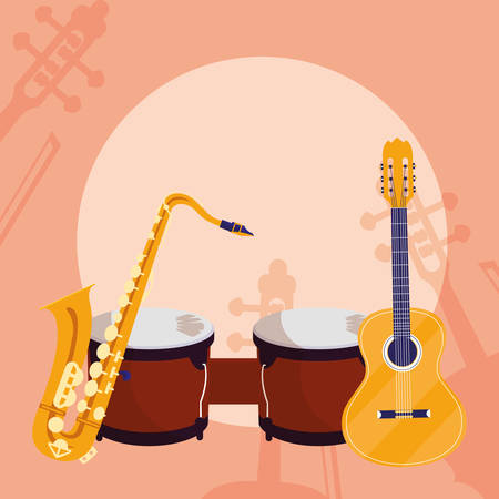 guitar and timbals instruments musical vector illustration design Ilustracja