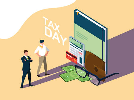 businessmen in tax day with book and set icons vector illustration design