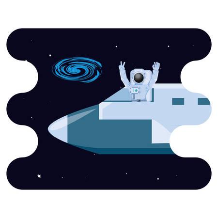space astronaut with spaceship scene vector illustration design Vektorové ilustrace