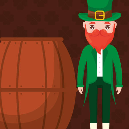 beer wooden barrel with ireland man vector illustration design