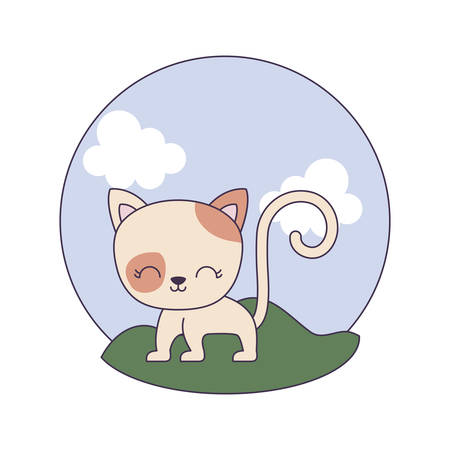 cute cat animal in landscape scene vector illustration design
