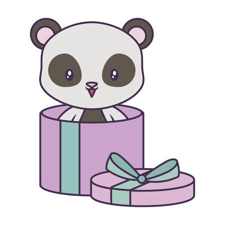 panda bear animal in gift box vector illustration design Illustration