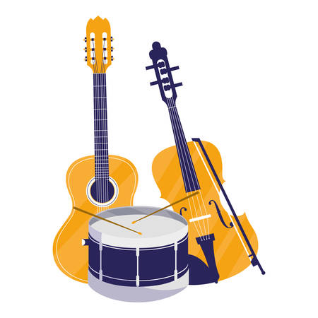 guitar and fiddle instruments musical vector illustration design