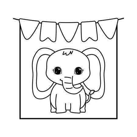 cute elephant animal with garlands hanging vector illustration design 向量圖像