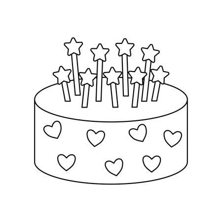 sweet cake of birthday isolated icon vector illustration design 向量圖像