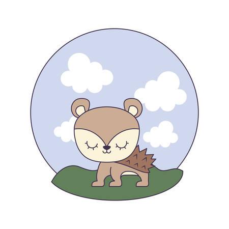 cute porcupine animal in landscape scene vector illustration design Illustration